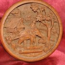 "6"" Round carved wooden Elephant moving logs plate wall hanging"