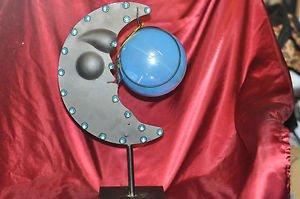 "Jeweled Black 1/4 Moon and Globe on Stand 17"" X 9"""