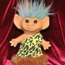 Weeda Wishnick Troll Doll Green Pink Blue Hair 1970's The Caveman Troll Vintage