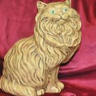 Vintage Ceramic Persian Cat Sculpture Statue Golden Yellow Long Hair 14""