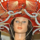 MEXICAN SOMBRERO HAT Red Silver Horseshoe Tassels Mariachi Band Cinco de Mayo