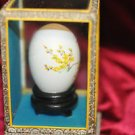 Vintage Chinese Hand Painted Egg Shell in Glass Case w/Long tail streamer Bird