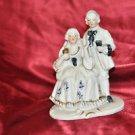 VINTAGE BLUE & WHITE PORCELAIN BISQUE FIGURINE, VICTORIAN COUPLE