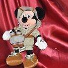 Mickey Mouse Safari Bean Bag Plush 11 1/2in Tag Walt Disney World Binoculars
