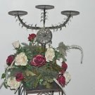 """Vintage Silk Floral Design Decorative 3 Candle Stand 21"""" Tall 17"""" Wide"""
