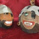2 Vintage Pirate Coconut Heads with Hanger
