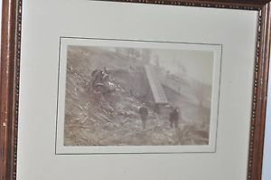 Matted Framed Photo of Train Wreck on Rutland,IT Railroad April 13,1880 Part 1