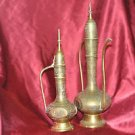 """20th Century Hand Crafted Engraved Brass 2 Oil Pouring Ritual Pitchers 14.5""""& 12"""