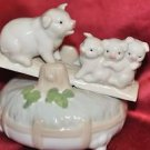 "Ceramic Pigs on a See Saw Music Box 5"" X 4"""