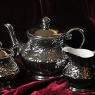 Coffee,Sugar and Creamer Acrylic, Dishwasher Safe, Silver, Solid and Tea set