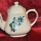 Teapot Large white with Blue Rose Flower.