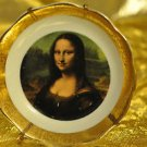 Limoges Mona Lisa Made in France Porcelain D'Art Gold Trim with Smile Plate 4''