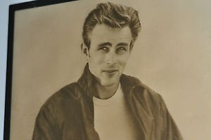 "James Dean Black Celebrities & Musicians, Framed, Large (Greater than 10""), Not"