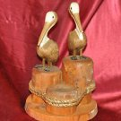 "2 Pelicans Hand Carved Wood Sculpture Florida Rope bound Pilings 10"" Tall 7"" wid"