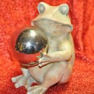 Frog Statue with Silver Color Ball Figurine Toad Sculpture