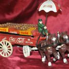 Coca Cola Horses and Wagon with Coke Crates, Unbrella on Wagon, Cast Iron 13inch