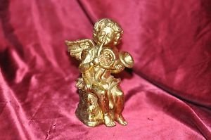 7� Gold Angel with Instrument Christmas French Horn