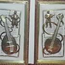 2 Wall Hanging Musical Instruments GOLD TONE From PHILIPPE Vintage 14'' by 81/2
