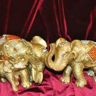 Elephant Family Golden Mirrored Shinny Color Home Decor Mixed Materials and
