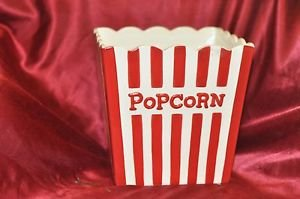 Hallmark Red & White Striped Ceramic Popcorn Box