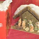 Trim A Home 9 Piece Nativity Set ~ Hand Painted Porcelain Figures Wooden Creche