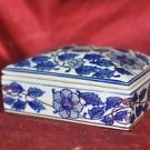 "Beautiful Ceramic Covered Trinket Box Blue Rose  5.5"" X 4"" X 2.5"""