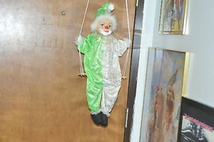LARGE 23 INCH CLOWN DOLL WITH PORCELAIN HEAD ON SWING Green and White Outfit