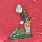 Cast Iron DOORSTOP Old Fashioned Golfer 8''Tall Door stopper and Multi-Color