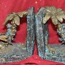 2 Ceramic Bookends PalmTree Brown Monkey Climbing Design Heavy