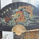 "DRAGONS~ Extra Large 60"" HAND PAINTED ASIAN WALL FAN ~HOME DECOR"