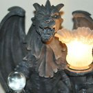 Dragons Crystal Ball Statue Table Lamp. Gothic Medieval Decor Display Products