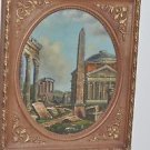 """Ancient Roman Greek Ruins Architecture Abstract art FRAMED PAINTING 12.5"""""""
