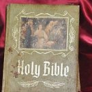 LARGE HOLY BIBLE  MASTER REFERENCE EDITION GREEN COVER ILLUSTRATED 1971