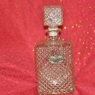 GLASS LIQUOR DECANTER scotch whiskey spirit whisky booze w/label tag emblem