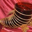 Glass Horn Vase in Rot Iron Leaf Holder