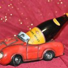 SCULPTURES Stock Car Wine Bottle Holder Red