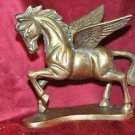 Vtg Solid Brass Winged Mythical Magical Mid-evil Gothic Pegasus Horse Statue