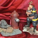 Fireman Rescuing a Child and a Helmit and Fire Hydrant Statue Lot Patriotic