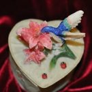Beautiful Heart Shape Box made out of Resin Hummingbird design Mixed Materials