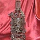 Cage Chalkboard Wine Bottle 14-Inch Metal Holder