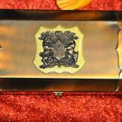 Jewelry Box Copper Tone Bull & Bear Holding a Shield Emblem Metal and