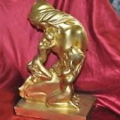 """Mother & Daughters in Loving embrace Statue Figurine 17"""" X 11"""" Painted Gold"""