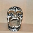 HEAD HUNTER ANCESTRAL HUMAN TROPHY RESIN SKULL ZEBRA STRIPED