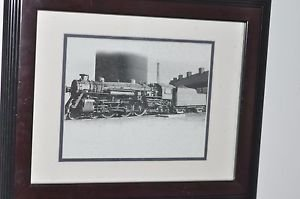 "Matted Framed Photo of Steam engine and Box Car 17.5"" 14.5"""