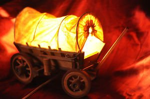 Old West Covered Chuck Wagon - Beautiful Real Wood Table Lamp