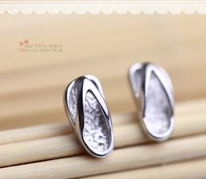 "New Fashion 925 Sterling Sliver Cute""Slippers"" Stud Earring One Pair Beautiful"