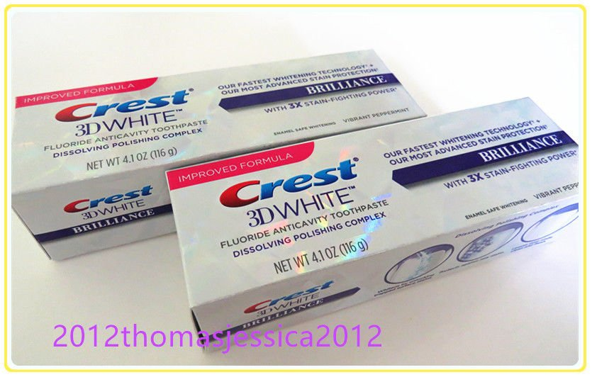 2 X Crest 3D White Brilliance Vibrant Peppermint Whitening Toothpaste 4.1oz.