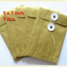 EBS0507 Brown String-Tie Envelopes kraft 5 X 7 inches (5,10,15,20 pcs)