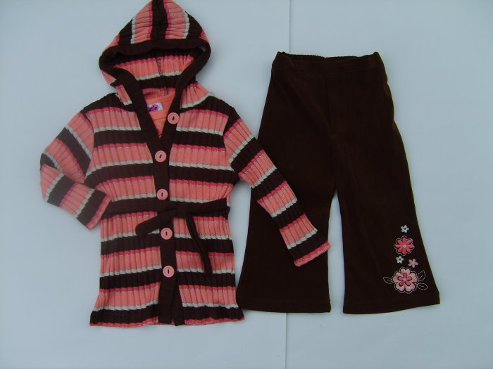 3 Piece Peach & Brown sweater duster outfit 18 months new