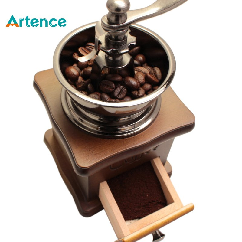 Classical Wooden Mini Coffee Grinder Manual Stainless Steel Retro Coffee Spice Mill